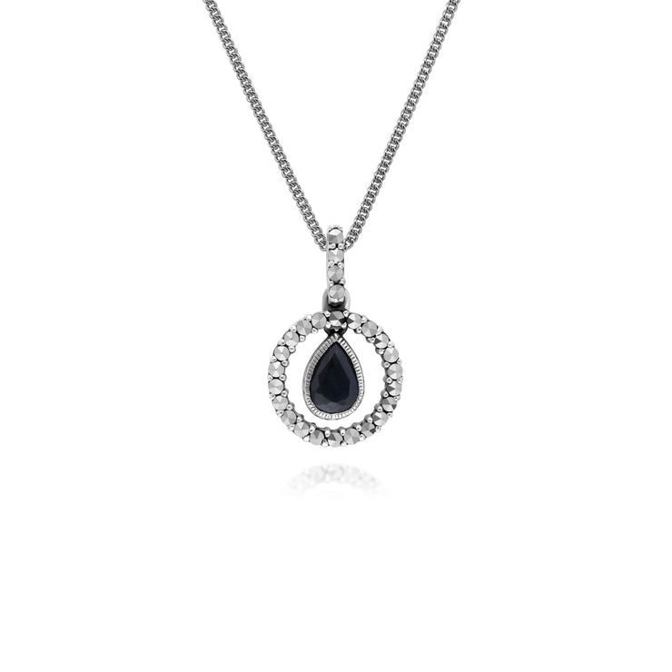 Classic Pear Sapphire & Marcasite Halo Pendant in 925 Sterling Silver