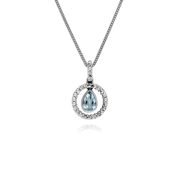 Classic Pear Blue Topaz & Marcasite Halo Pendant in 925 Sterling Silver