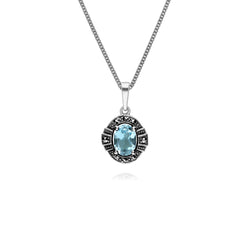 Art Deco Style Oval Blue Topaz & Marcasite Halo Pendant in 925 Sterling Silver