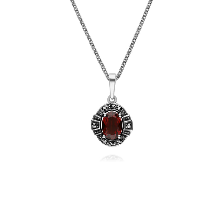 Art Deco Style Oval Garnet & Marcasite Halo Pendant in 925 Sterling Silver