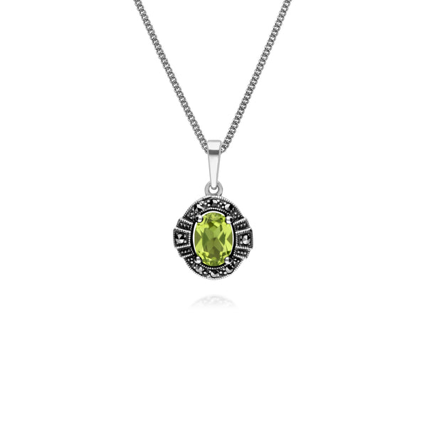 Art Deco Style Oval Peridot & Marcasite Halo Pendant in 925 Sterling Silver