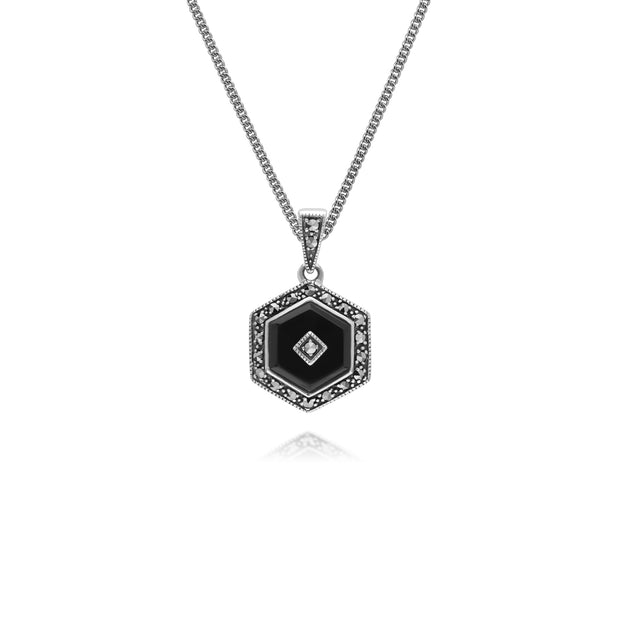 Art Deco Style Hexagon Black Onyx & Round Marcasite Pendant in 925 Sterling Silver