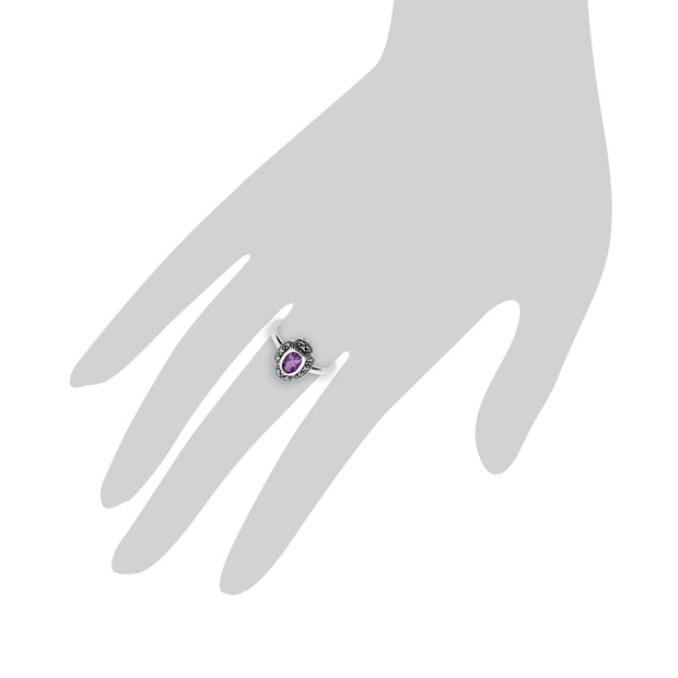 Art Deco Style Oval Amethyst & Marcasite Ring in 925 Sterling Silver