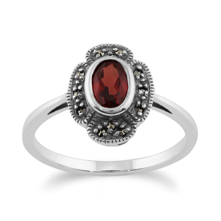 Art Deco Style Oval Garnet & Marcasite Ring in 925 Sterling Silver