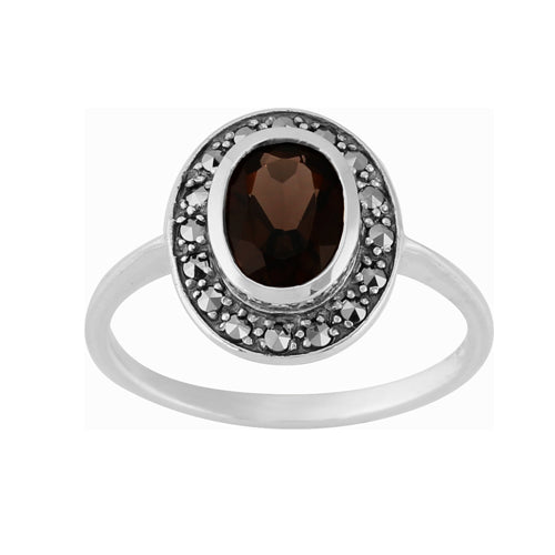 Art Deco Style Smokey Quartz Garnet & Marcasite Ring in 925 Sterling Silver