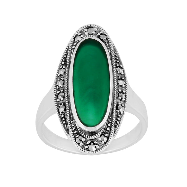 Art Deco Style Oval Green Chalcedony & Marcasite Cocktail Ring in 925 Sterling Silver