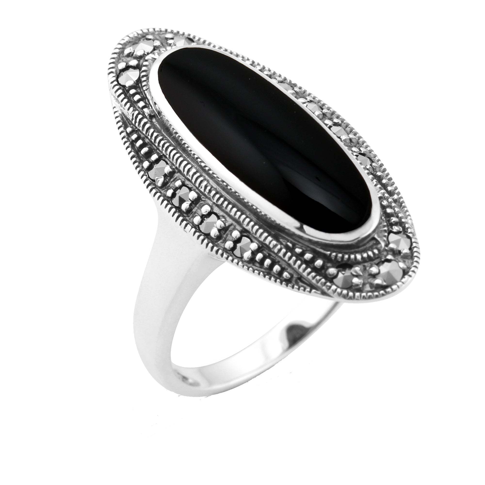Free Gift Packaging Sterling Silver Oval Black Onyx Offset Ring