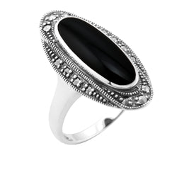 Art Deco Style Black Onyx Cabochon & Marcasite Ring in 925 Sterling Silver