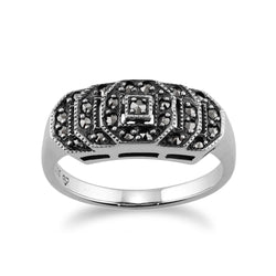 Art Deco Style Round Marcasite Stepped Ring in 925 Sterling Silver