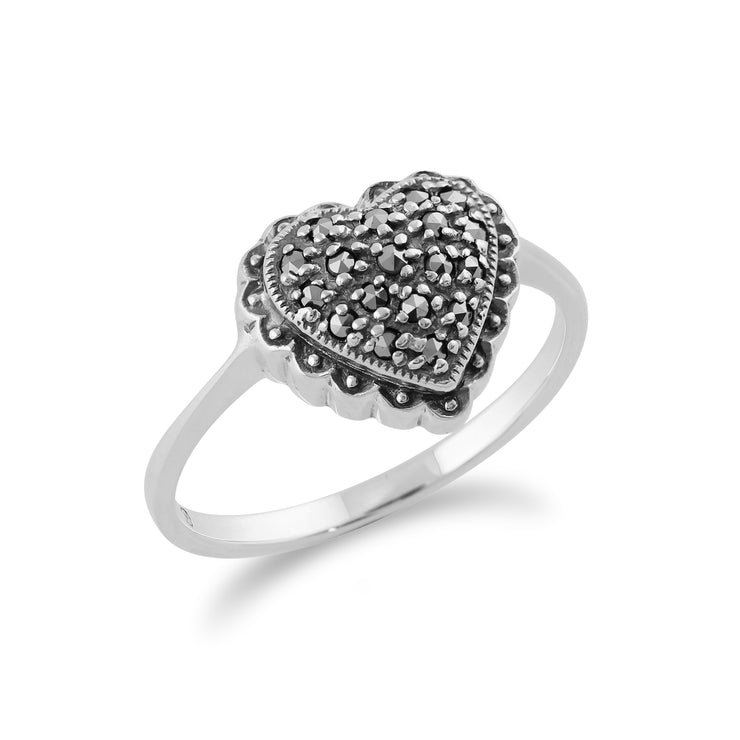 Classic Round Marcasite Heart Ring in 925 Sterling Silver
