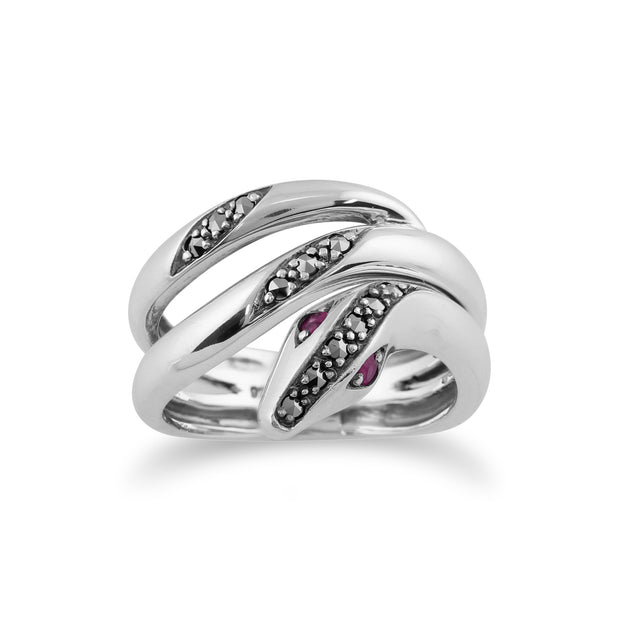 Art Nouveau Style Round Ruby & Marcasite Snake Ring in 925 Sterling Silver