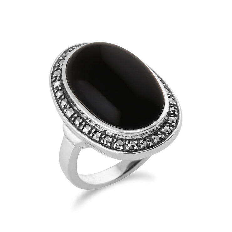 Boho Oval Onyx Cabochon & Marcasite Silver Ring