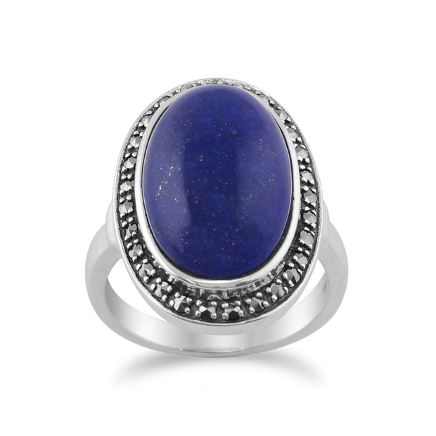 Boho Oval Lapis Lazuli Cabochon & Marcasite Ring in 925 Sterling Silver