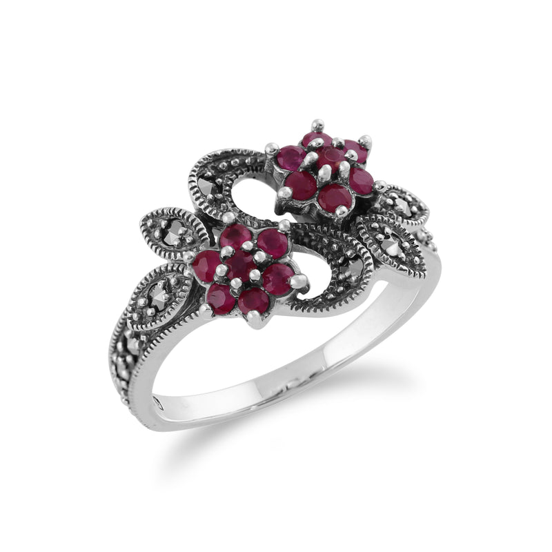 Art Nouveau Style Round Ruby & Marcasite Flower Ring in 925 Sterling Silver