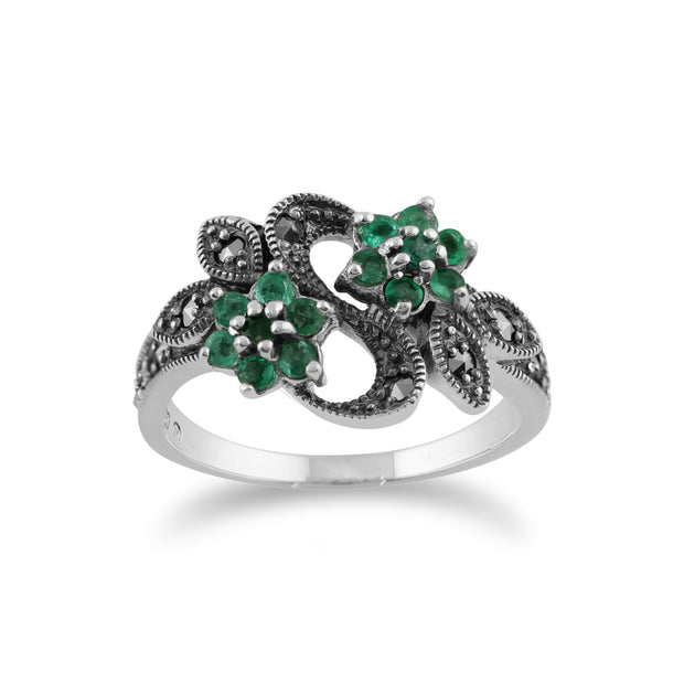 Art Nouveau Style Round Emerald & Marcasite Flower Ring in 925 Sterling Silver
