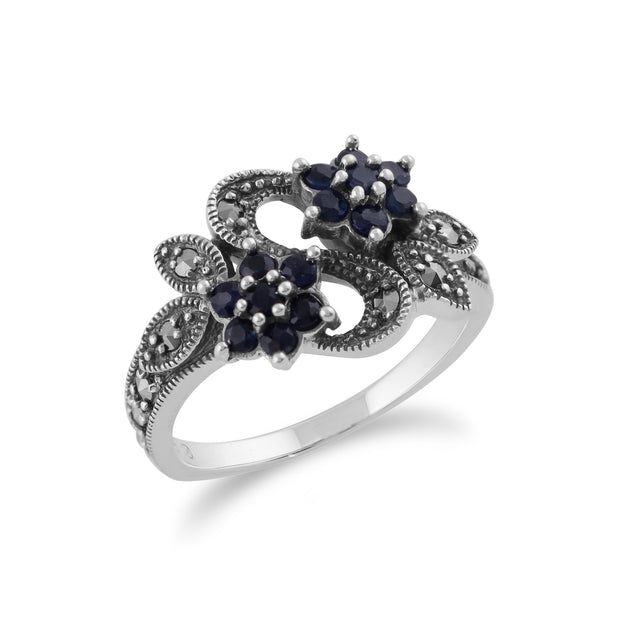 Art Nouveau Style Round Sapphire & Marcasite Flower Ring in Sterling Silver