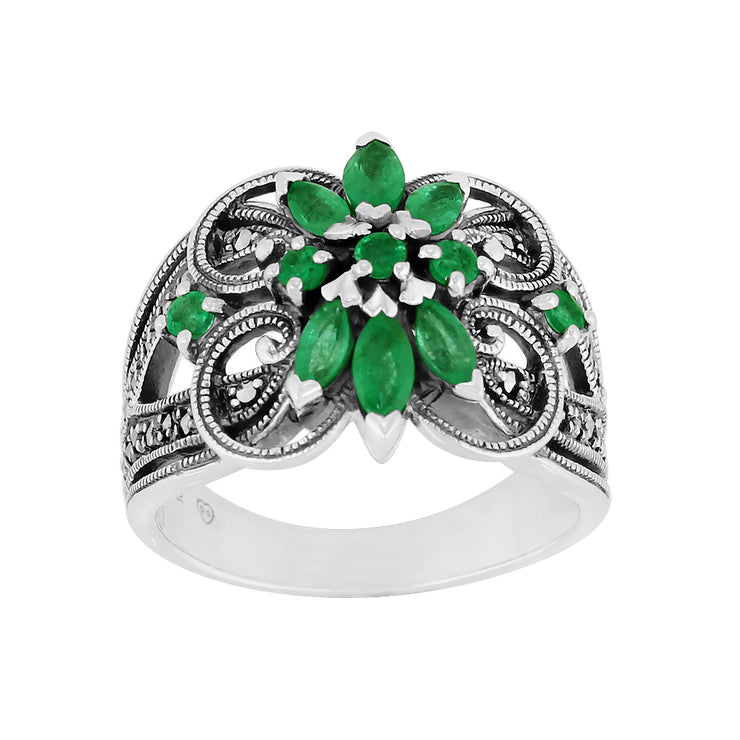 Art Nouveau Style Marquise Emerald & Marcasite Floral Silver Cocktail Ring