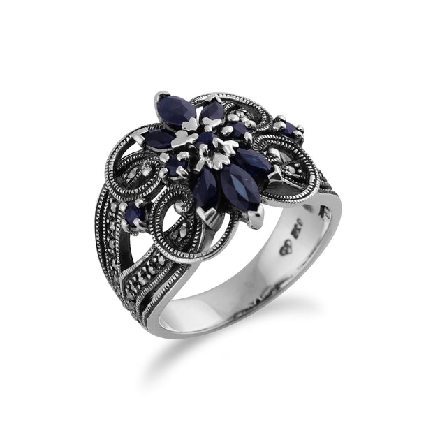 Art Nouveau Marquise Sapphire & Marcasite Cocktail Ring in Sterling Silver