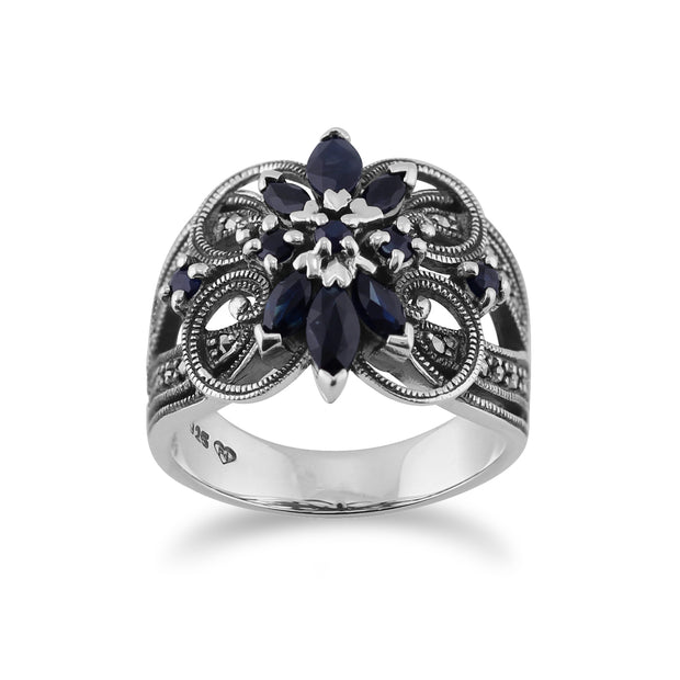 Art Nouveau Style Marquise Sapphire & Marcasite Floral Cocktail Ring in 925 Sterling Silver