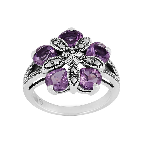 Sterling Silver 1.80ct Amethyst & Marcasite Cocktail Ring Image 1