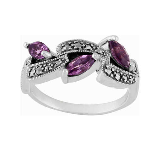 Art Nouveau Style Marquise Amethyst & Marcasite Ring in 925 Sterling Silver