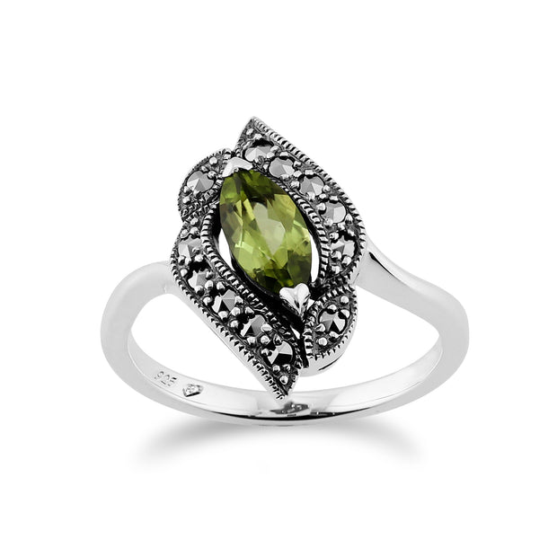 Art Nouveau Style Marquise Peridot & Marcasite Silver Ring