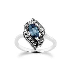 Art Nouveau Style Marquise Blue Topaz & Marcasite Ring in 925 Sterling Silver