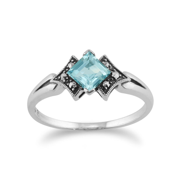 Art Deco Style Square Blue Topaz & Marcasite Ring in 925 Sterling Silver