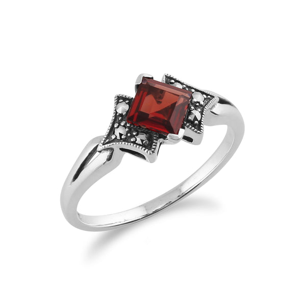 Art Deco Style Square Garnet & Marcasite Ring in 925 Sterling Silver