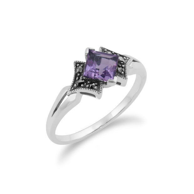 Art Deco Style Square Amethyst & Marcasite Ring in 925 Sterling Silver