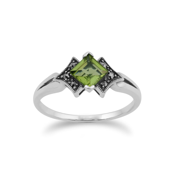 Art Deco Style Square Peridot & Marcasite Ring in 925 Sterling Silver