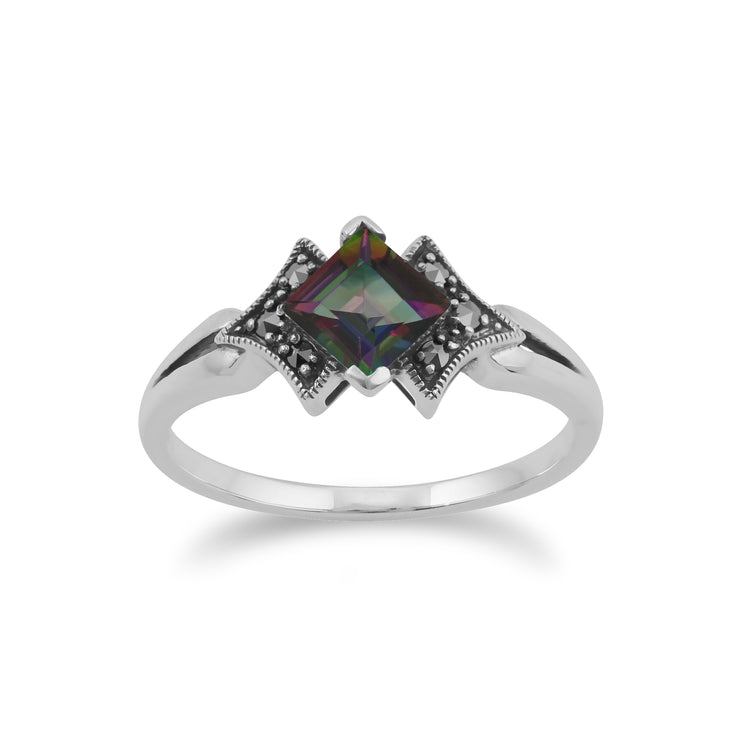 Art Deco Style Square Mystic Topaz & Marcasite Ring in 925 Sterling Silver