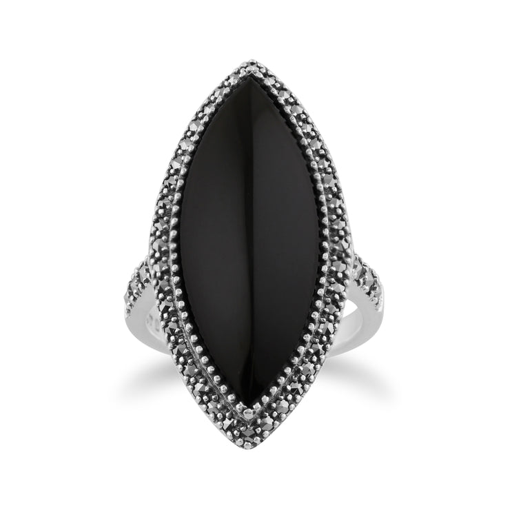 Art Deco Style Marquise Black Onyx & Marcasite Statement Ring in 925 Sterling Silver