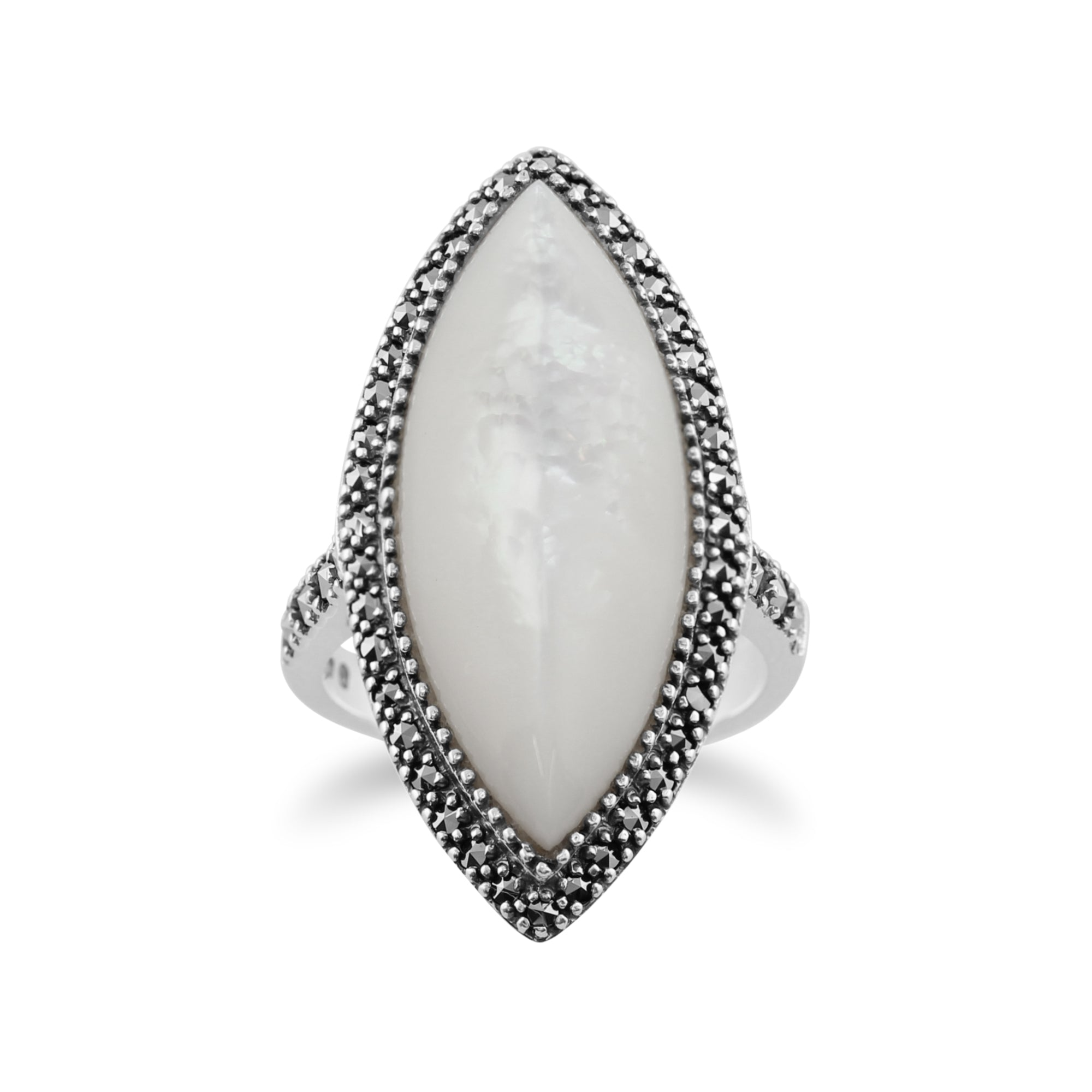 925 Sterling Silver and Mother of Pearl Ring,Natural White Gemstone Cabochon Nacre