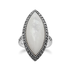 Art Deco Style Marquise Mother of Pearl & Marcasite Statement Ring in 925 Sterling Silver