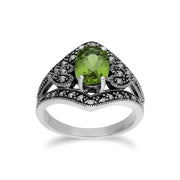 Art Deco Style Oval Peridot & Marcasite in 925 Sterling Silver