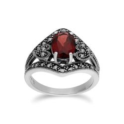 Art Deco Style Oval Garnet & Marcasite in 925 Sterling Silver