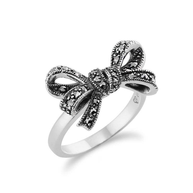 Art Nouveau Style Round Marcasite Ribbon Bow Ring in 925 Sterling Silver