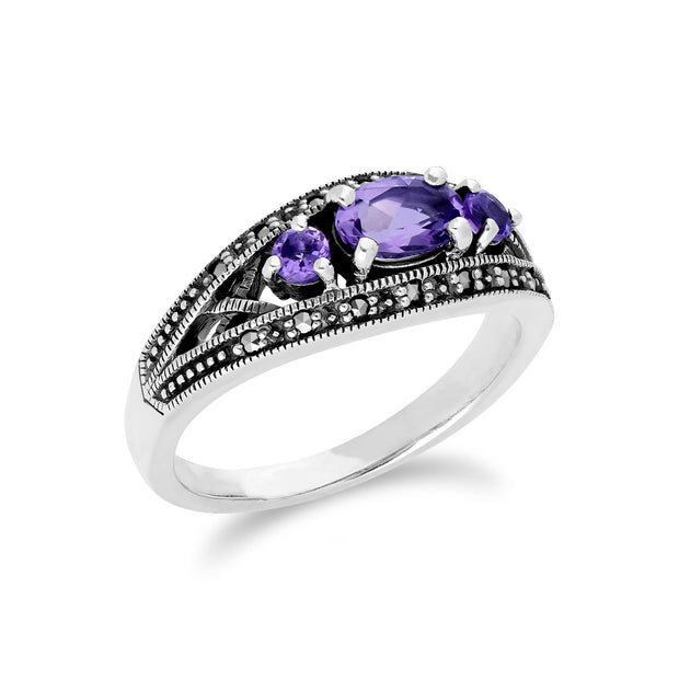 Art Deco Style Oval Amethyst & Marcasite Three Stone Ring in 925 Sterling Silver