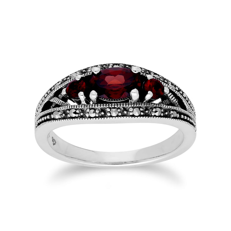 Art Deco Style Oval Garnet & Marcasite Three Stone Ring in 925 Sterling Silver