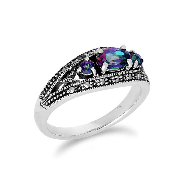 Art Deco Style Oval Mystic Topaz & Marcasite Three Stone Ring in 925 Sterling Silver