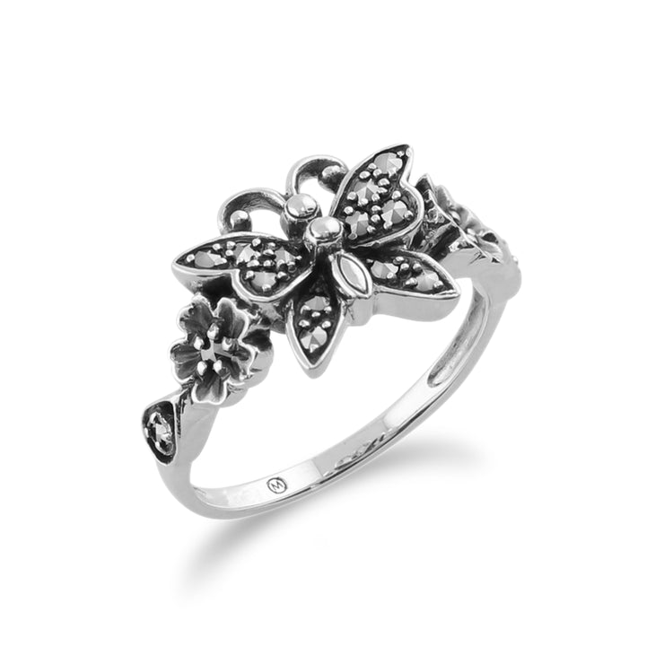 Art Nouveau Style Round Marcasite Butterfly Ring in 925 Sterling Silver