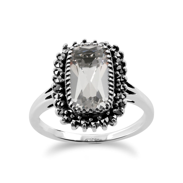 Art Deco Style Cushion Rock Crystal & Marcasite Halo Cluster Ring in 925 Sterling Silver