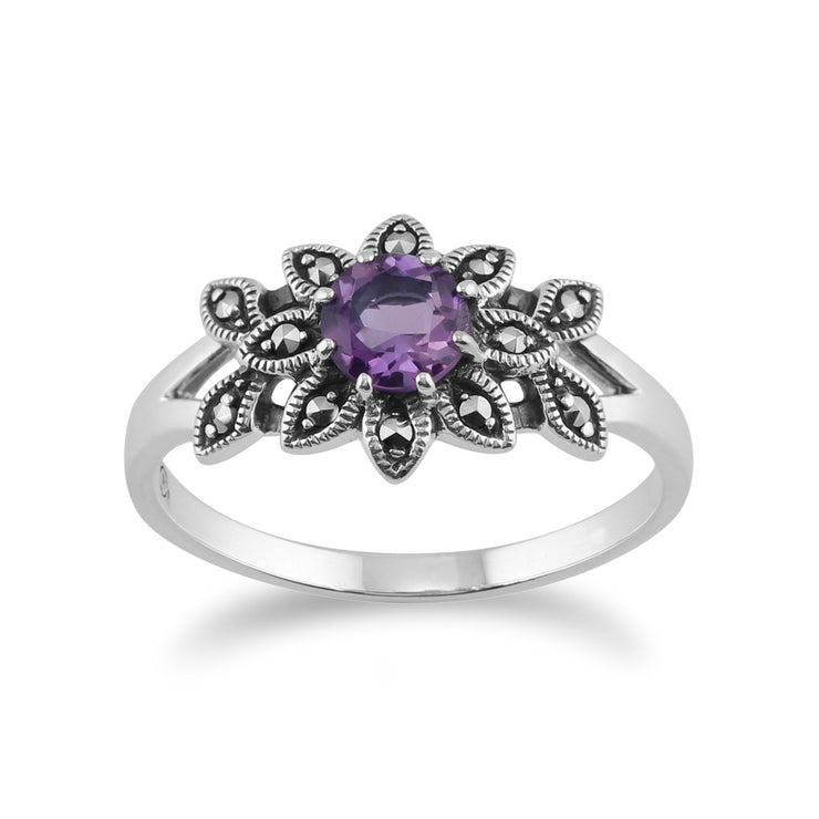 Art Nouveau Style Round Amethyst & Marcasite Floral Ring in 925 Sterling Silver