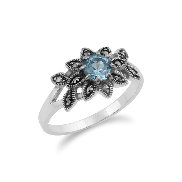 Art Nouveau Style Round Blue Topaz & Marcasite Floral Ring in Sterling Silver