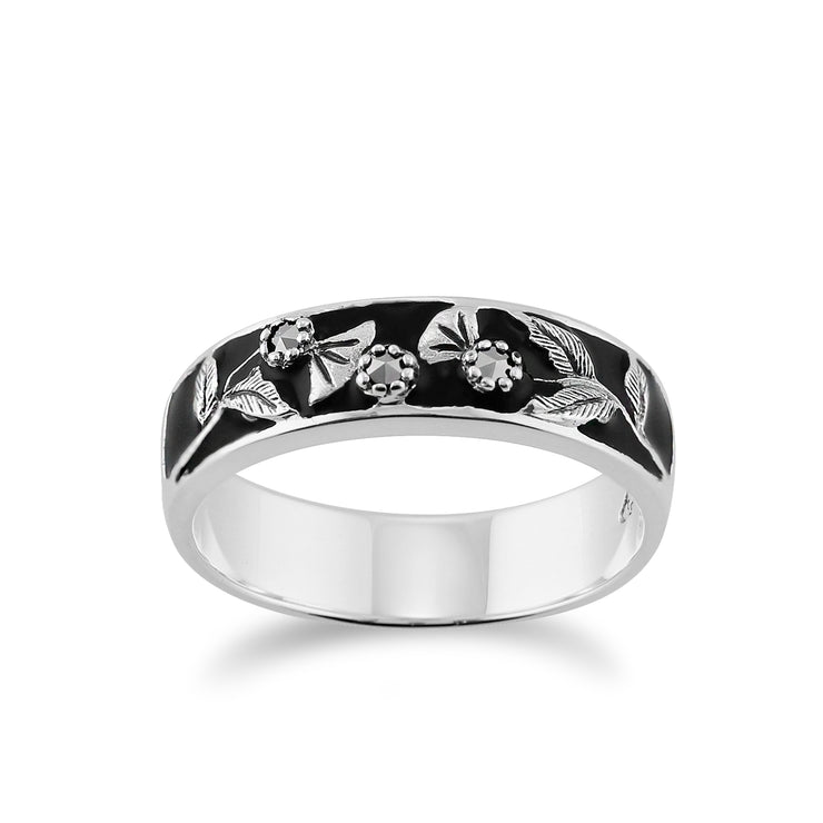 Floral Round Marcasite & Black Enamel Thisstle Band Ring in 925 Sterling Silver