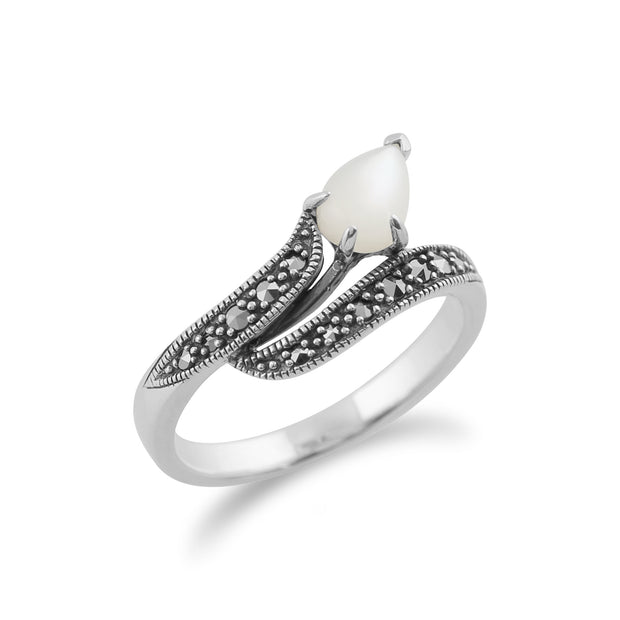 Art Nouveau Style Pear Mother of Pearl & Marcasite Twist Ring in 925 Sterling Silver