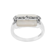 Art Deco Style Rectangle Mother of Pearl & Marcasite Bar Ring in 925 Sterling Silver
