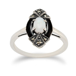 Art Deco Style Oval Opal, Marcasite & Black Enamel Marquise Ring in 925 Sterling Silver