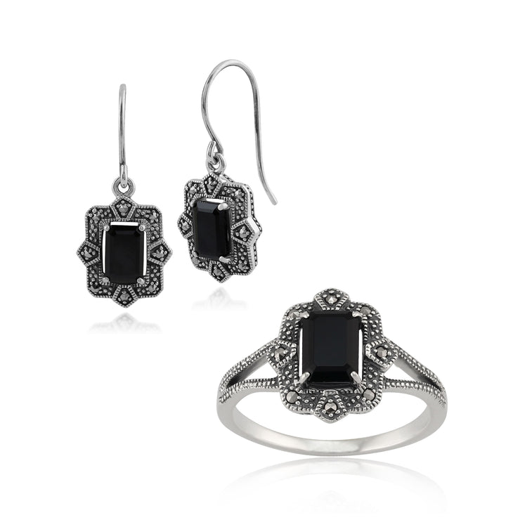 Art Deco Style Baguette Black Spinel & Marcasite Framed Drop Earrings & Ring Set in 925 Sterling Silver